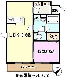 埼玉県さいたま市緑区大字玄蕃新田の賃貸アパートの間取り