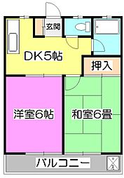 東京都東村山市青葉町3丁目の賃貸アパートの間取り