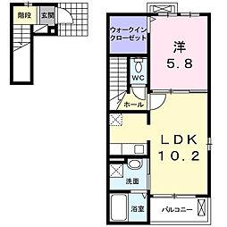 三重県四日市市蒔田3丁目の賃貸アパートの間取り
