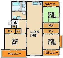 東二見ガーデンハイツ3号棟[2階]の間取り