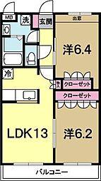 茨城県水戸市元吉田町の賃貸マンションの間取り