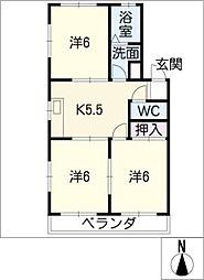 ヤタラネハイツ[1階]の間取り