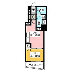 ディームス大手町ノース 9階1DKの間取り