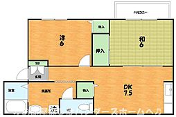 大阪府枚方市宇山町の賃貸アパートの間取り