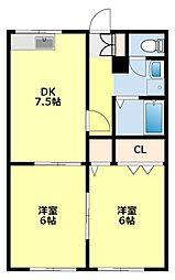 愛知県豊田市広久手町5丁目の賃貸アパートの間取り