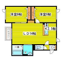 北海道札幌市東区伏古六条3丁目の賃貸アパートの間取り