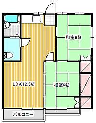 フォーブル太平台B棟[206号室]の間取り