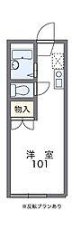埼玉新都市交通 今羽駅 徒歩3分の賃貸アパート 1階ワンルームの間取り