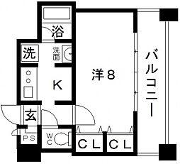 大阪府大阪市中央区瓦屋町1丁目の賃貸マンションの間取り