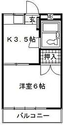 東京都狛江市猪方1丁目の賃貸アパートの間取り