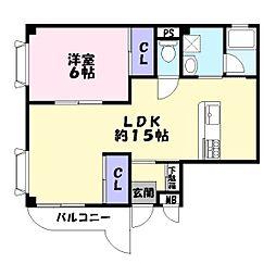 寿ハイツ[2階]の間取り
