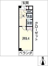 レインボーハイム 1階1Kの間取り