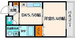 コンフォート 1階1DKの間取り