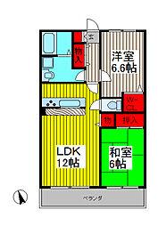 プラセール上青木[2階]の間取り
