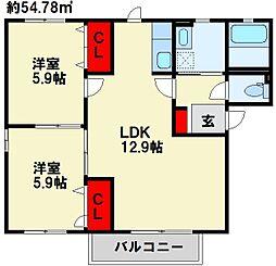 福岡県遠賀郡水巻町立屋敷2丁目の賃貸アパートの間取り