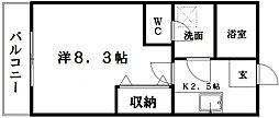 クレフラスト龍禅寺B[2階]の間取り