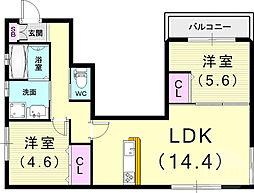 (仮)フィカーサ曾和町 1階2LDKの間取り