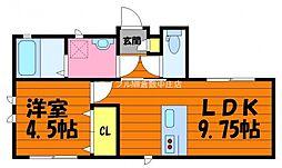 岡山県倉敷市船倉町の賃貸アパートの間取り