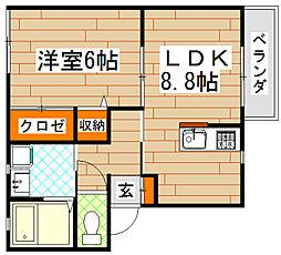 福岡県北九州市小倉北区高坊1丁目の賃貸アパートの間取り