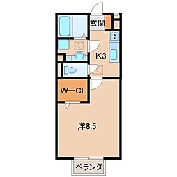 和歌山県和歌山市鳴神の賃貸アパートの間取り