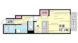兵庫県神戸市須磨区妙法寺池ノ中の賃貸アパートの間取り