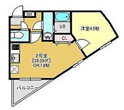 JR京葉線 蘇我駅 徒歩3分の賃貸マンション 3階1DKの間取り