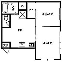 兵庫県豊岡市桜町の賃貸アパートの間取り