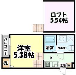 JR東北本線 仙台駅 徒歩15分の賃貸アパート 2階1Kの間取り