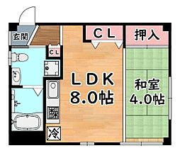阪急神戸本線 王子公園駅 徒歩9分の賃貸マンション 2階1LDKの間取り