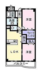 千葉県松戸市五香4丁目の賃貸マンションの間取り