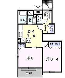 カーサ・プラシードA[1階]の間取り