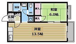 大阪府東大阪市高井田の賃貸アパートの間取り