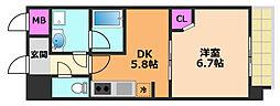 カンナビーノ 5階1DKの間取り