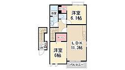 兵庫県宝塚市花屋敷荘園3丁目の賃貸アパートの間取り