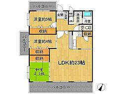 ライオンズマンション五条[5階]の間取り