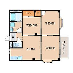 静岡県藤枝市東町の賃貸アパートの間取り