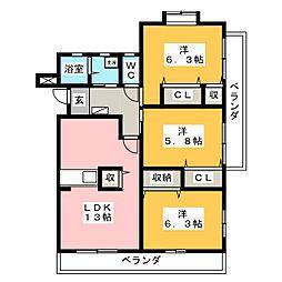 アンシュール[4階]の間取り