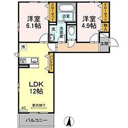 JR山陽本線 庭瀬駅 徒歩22分の賃貸アパート 3階2LDKの間取り