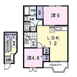 埼玉県春日部市新川の賃貸アパートの間取り