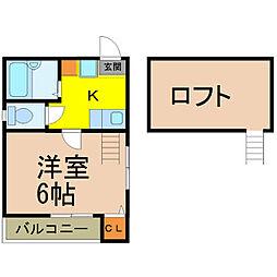 愛知県名古屋市瑞穂区下坂町の賃貸アパートの間取り
