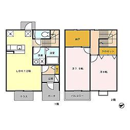 [テラスハウス] 三重県四日市市大井手3丁目 の賃貸【/】の間取り