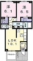 埼玉県さいたま市緑区美園1丁目の賃貸アパートの間取り