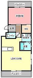 静岡県浜松市浜北区尾野の賃貸マンションの間取り