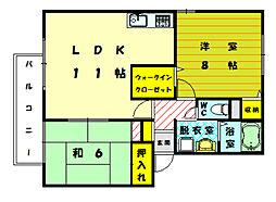 サニーヒル B[2階]の間取り