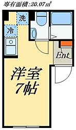 EXIA浅草橋 2階ワンルームの間取り