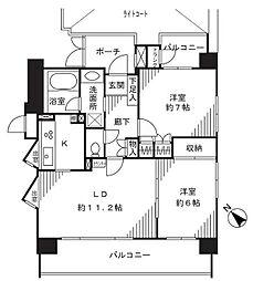 クリオ川崎駅前本町(駅近、角部屋、日当たり良好)[6階]の間取り