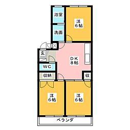 クレスガーデン[2階]の間取り