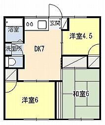 三橋ハイツA[201号室]の間取り