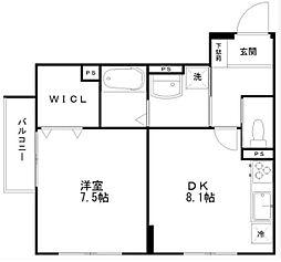 東京都世田谷区代沢4丁目の賃貸マンションの間取り