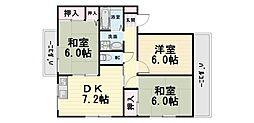 大阪府高石市加茂4丁目の賃貸アパートの間取り